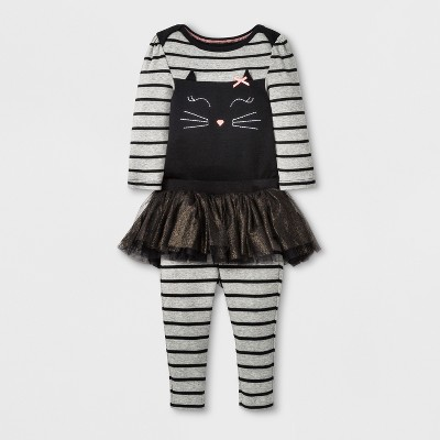 Baby Girls' Cat Top and Bottom 2pc Set - Cloud Island™ Black 12M
