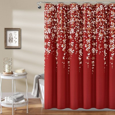 Weeping Flower Shower Curtain Red - Lush Décor