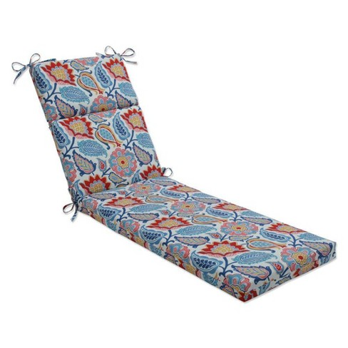 """72.5"""" x 21"""" Moroccan Chaise Lounge Cushion Flowers Slate Blue - Pillow Perfect - image 1 of 1"""