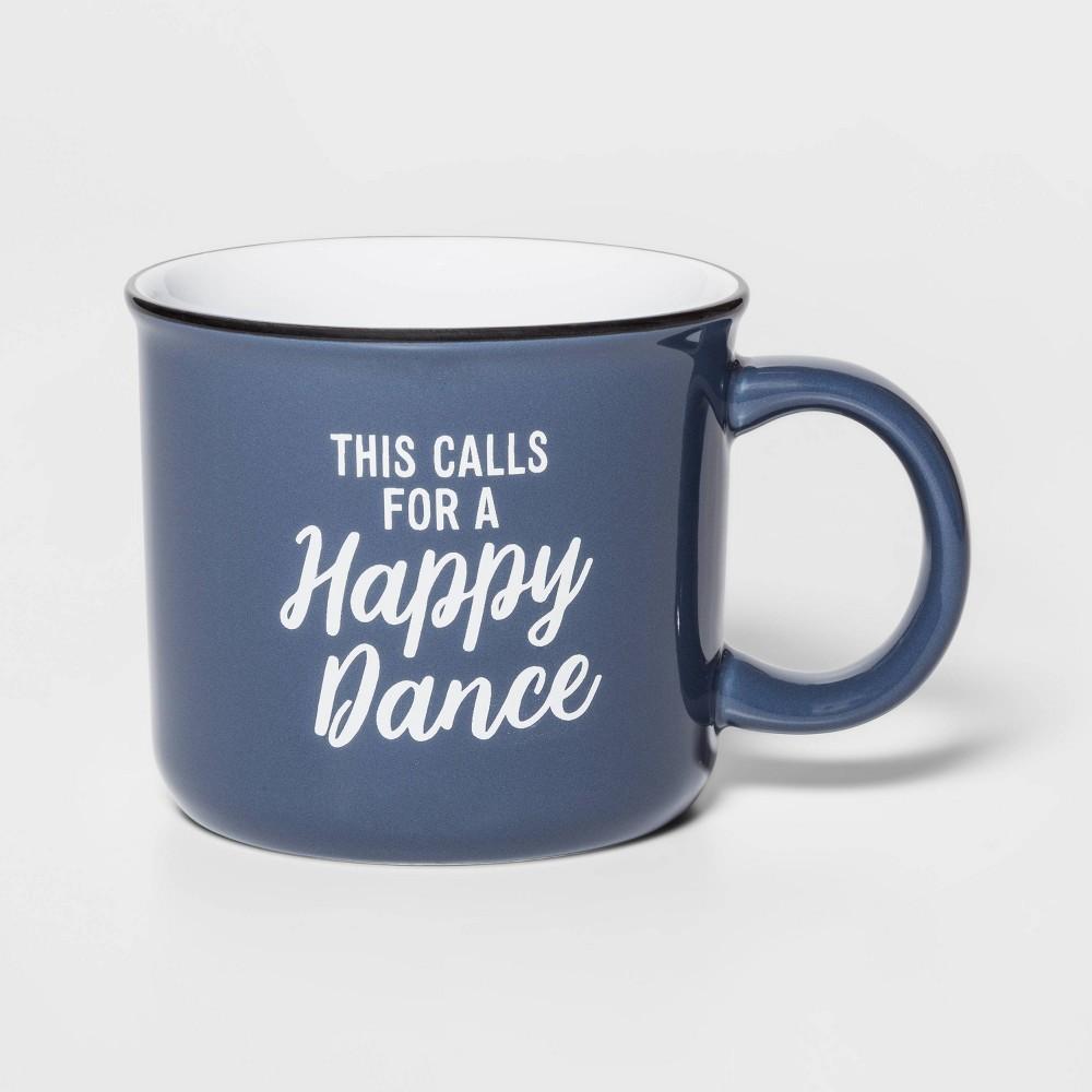 Image of 15oz Stoneware Happy Dance Camper Mug Blue - Threshold
