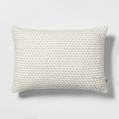 Textured Throw Pillow Green with Sour Cream - Hearth & Hand™ with Magnolia
