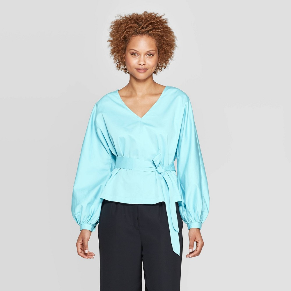 Women's Long Sleeve V-Neck Tie Waist Dolman Blouse - Prologue Blue M