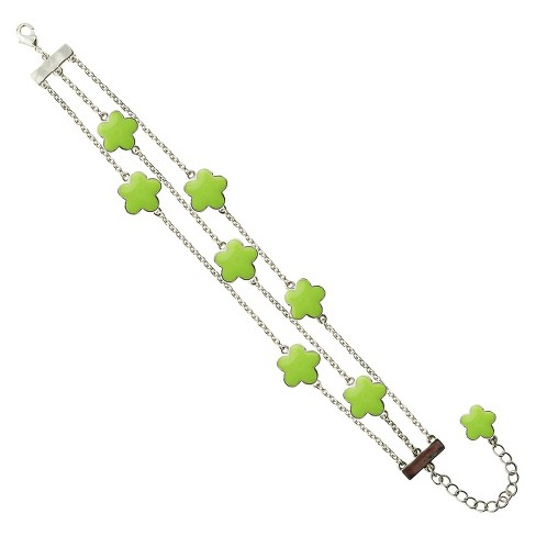 "Zirconite Rhodium Plated Multi-Strand Bracelet with Enameled Daisies Lime Green - 7"" - image 1 of 1"