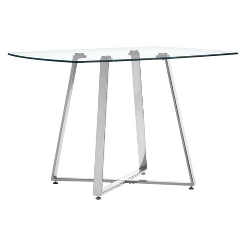 "Modern 42"" Square Tempered Glass and Chromed Steel Dining Table - ZM Home - image 1 of 3"