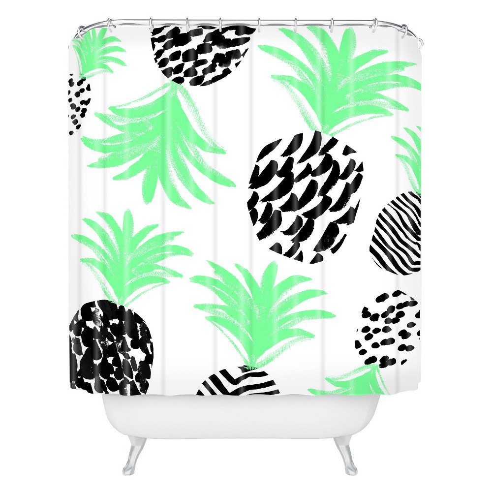 Classy Pineapples Shower Curtain Green Deny Designs