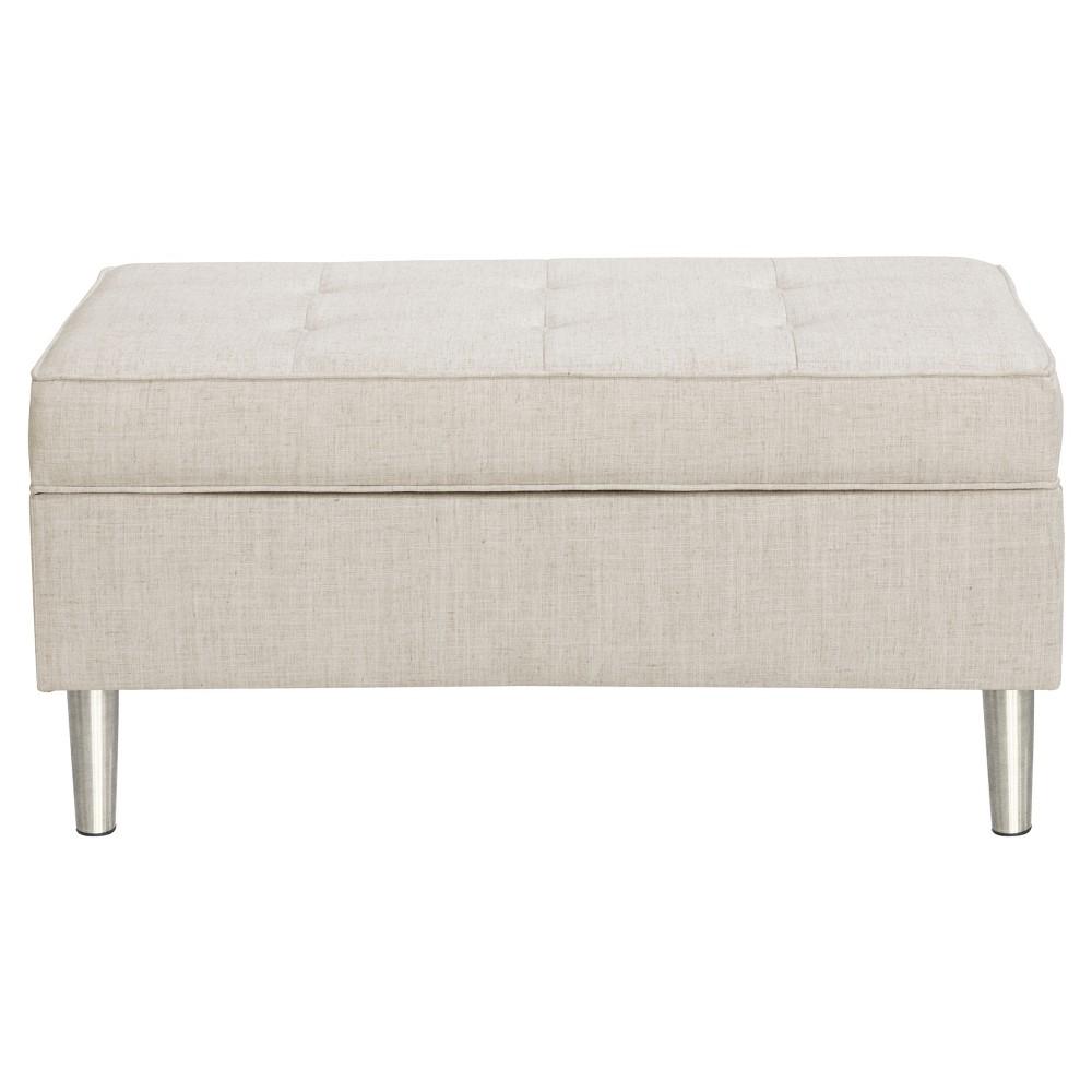 Mason Button Tufted Storage Bench - Linen Talc - Skyline Furniture, Talc Linen
