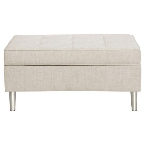 Enjoyable Mason Button Tufted Storage Bench Linen Talc Skyline Furniture Squirreltailoven Fun Painted Chair Ideas Images Squirreltailovenorg