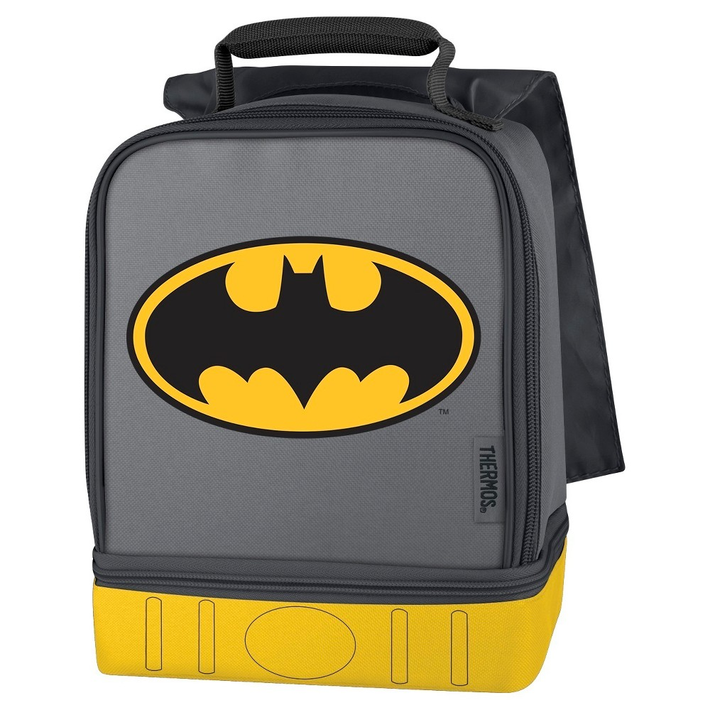 Thermos Dual Compartment Lunch Kit with Cape, Batman, Gray The dual compartment lunch kit from Genuine Thermos Brand is a great choice for kids to take their lunch to school. Decorated with detailed screen printed graphics, this lunch kit features a comfortable, padded carrying handle and premium foam insulation to keep lunches cool and fresh for longer. The dual compartments allow for storing items separately to help avoid crushing lunches. A cape detail makes this lunch kit extra fun. Color: Gray. Pattern: Superheroes.