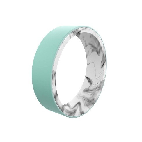 QALO Women's Switch Marble Silicone Ring - Aqua and White - image 1 of 3