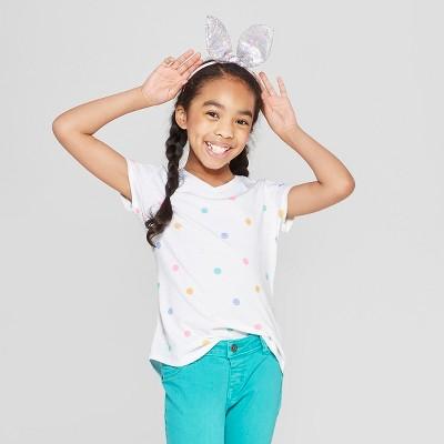 538e3a480cbf93 Girls  Short Sleeve Polka Dot V-Neck T-Shirt - Cat   Jack