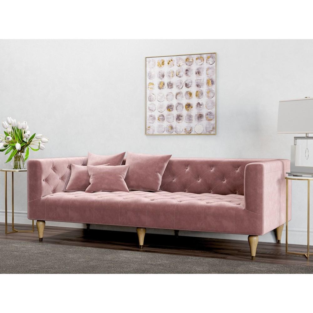 Image of Alice Tufted Velvet Sofa Blush Pink - AF Lifestlye