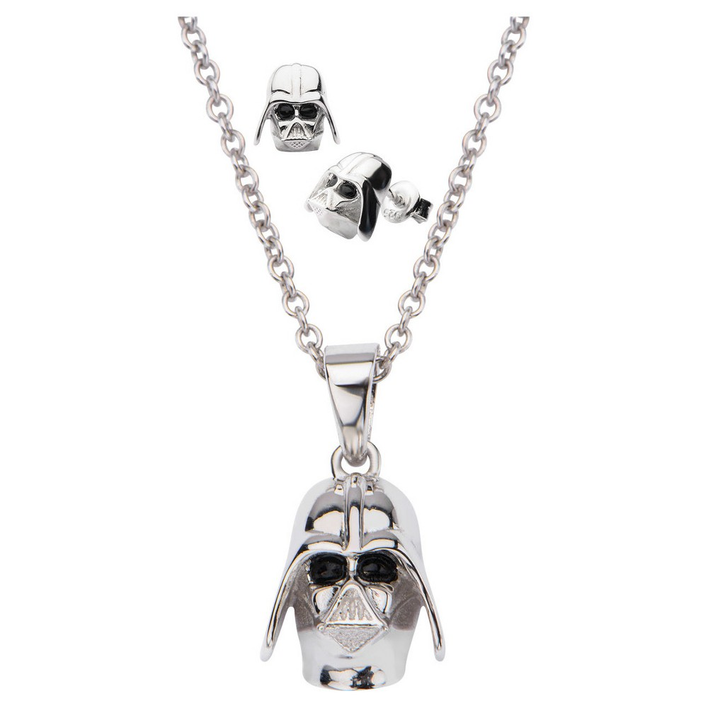 Women's 'Star Wars' Darth Vader 925 Sterling Silver 3D Earrings and Pendant with Chain Set (18)