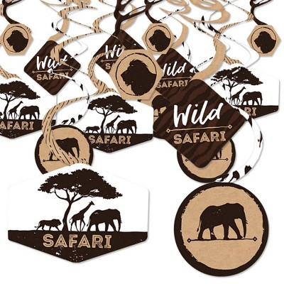 Party Decoration Swirls Wild Safari Set of 40 African Jungle Adventure Birthday Party or Baby Shower Hanging Decor