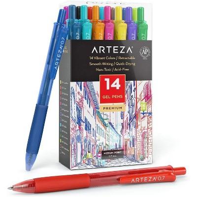 Arteza Gel Ink Pens, Retractable, Bright Colors - Set of 14