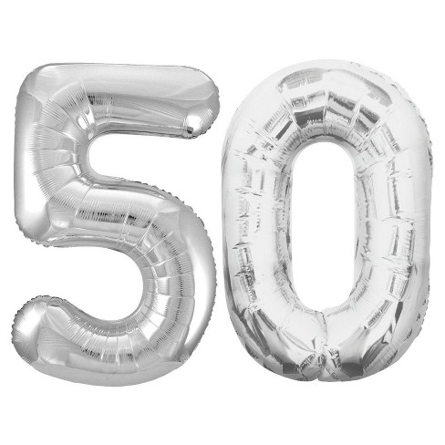 """50"" Jumbo Silver Foil Balloons - image 1 of 1"