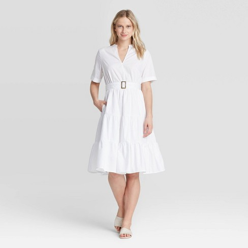 Women's Short Sleeve Belted Tiered Dress - Who What Wear™ - image 1 of 3
