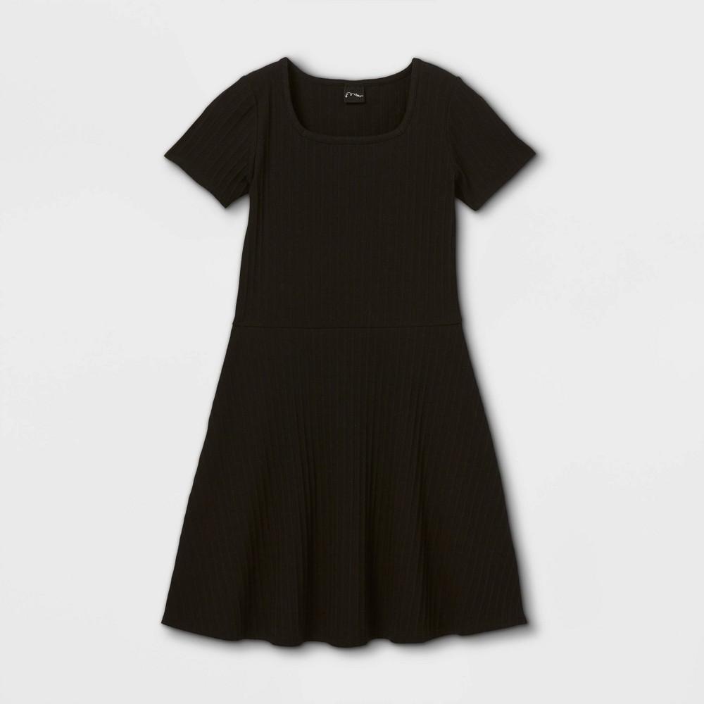 Girls 39 Square Neck Short Sleeve Ribbed Dress Art Class 8482 Black Xl