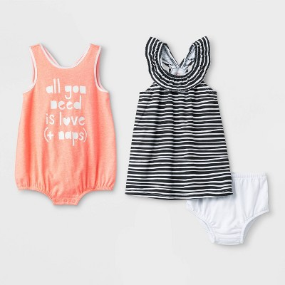 Baby Girls' 2pk Sleeveless Loop Back Ruffle Neck Rompers - Cat & Jack™ Black/Peach 0-3M