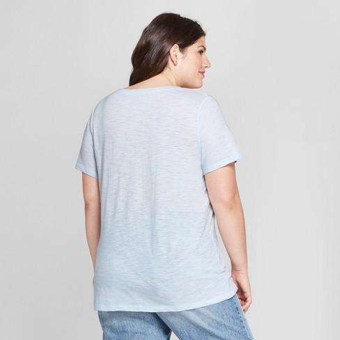 716f072bdea Women s Plus Size V-Neck Short Sleeve T-Shirt - Ava   Viv™ Pale Blue 1X    Target