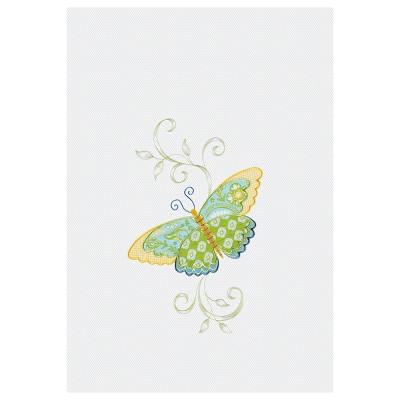 C&F Home Blue Butterfly Waffle Weave Embroidered Cotton Kitchen Flour Sack Dishtowel
