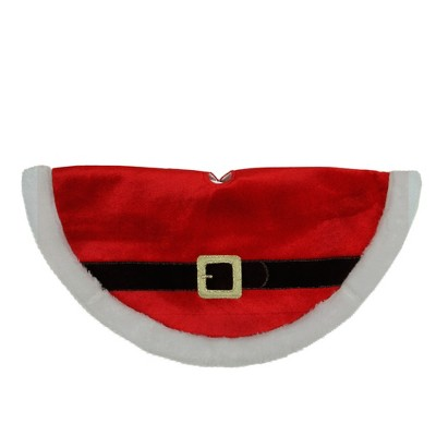 "Northlight 20"" Traditional Red and White Santa Claus Belt Buckle Mini Christmas Tree Skirt"