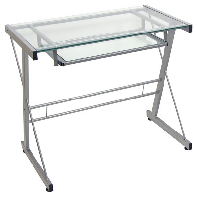 Glass Computer Desk with Keyboard Tray - Saracina Home