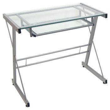 Saracina Home Glass Computer Desk with Keyboard Tray
