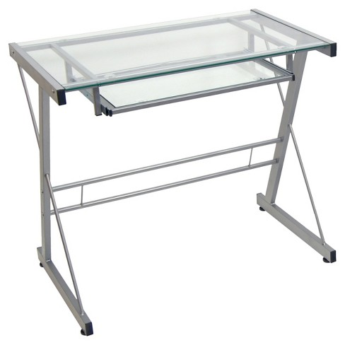 Modern Solo Glass Top Computer Desk With Keyboard Tray Silver