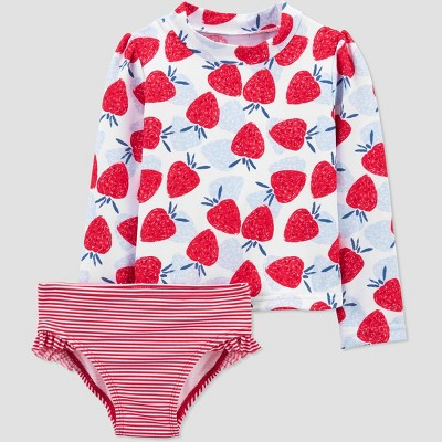 Toddler Girls' 2pc Strawberry Long Sleeve Rash Guard Set - Just One You® made by carter's Red/Blue 2T