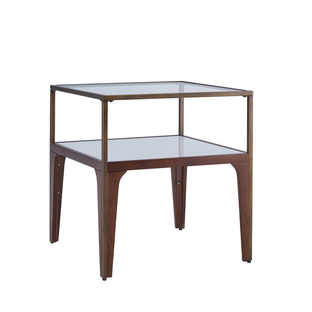 Athena Metal and Glass End Table Tobacco - Aiden Lane