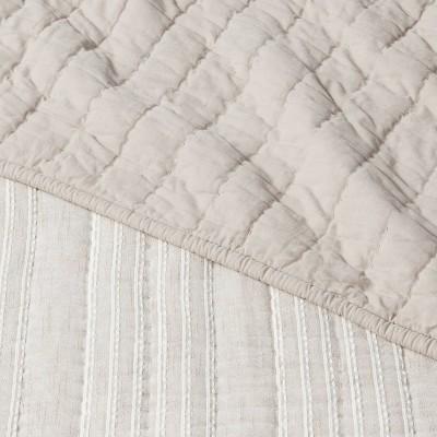 Gray Stitched Stripe Quilt - Threshold™ : Target