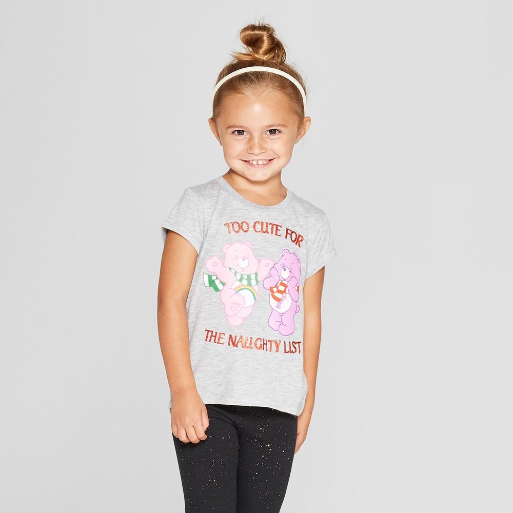 Toddler Girls' Care Bears Short Sleeve T-Shirt - Gray 4T