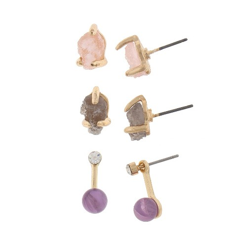 Women's Earring Trio pk with Irregular Stone and Jacket- Gold - image 1 of 1