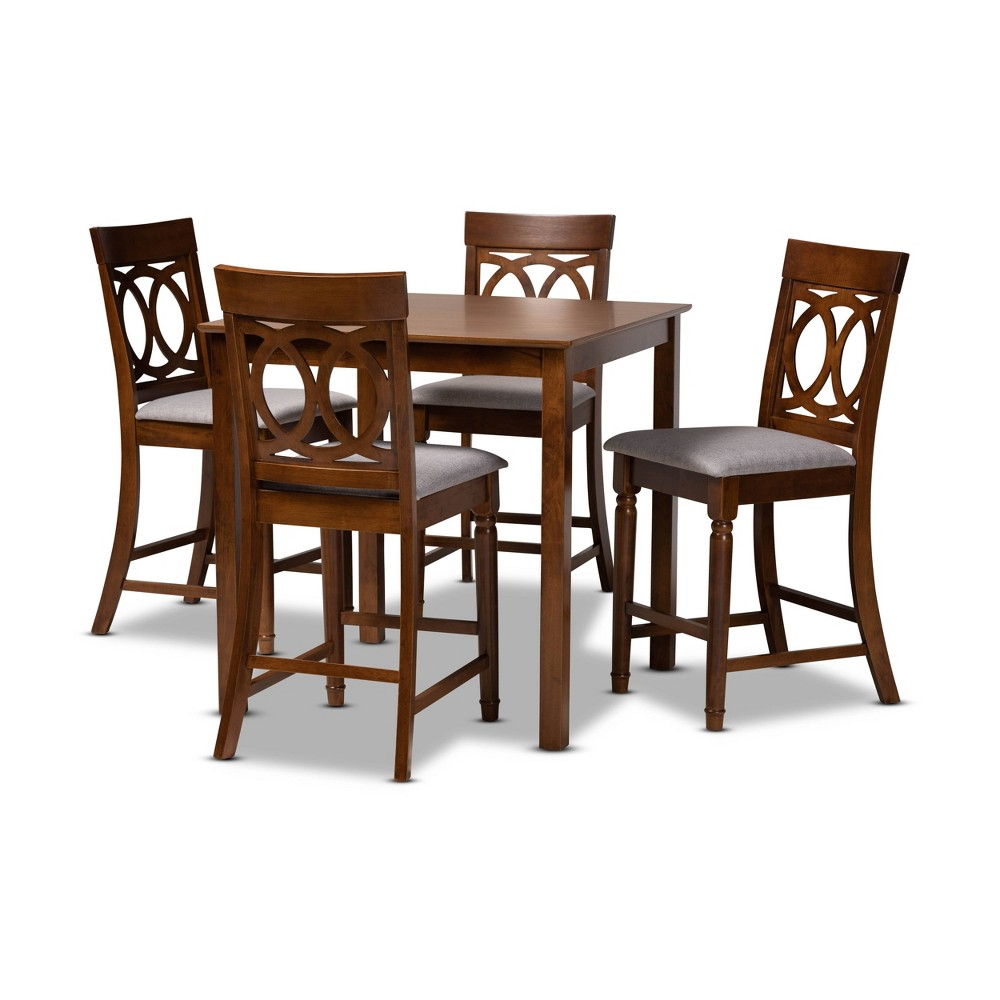 5pc Verina Fabric Upholstered Wood Pub Counter Height Dining Set Gray Brown Baxton Studio