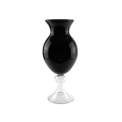 "Northlight 20"" Glass Finial Pedastal Style Flower Vase - Black/Clear"