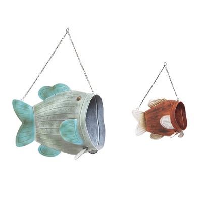 Evergreen Vintage Hanging Metal Fish Planters, Set of 2