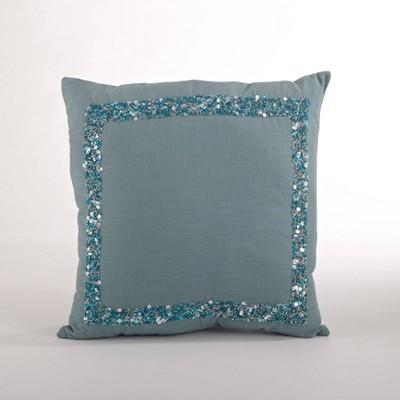 Seed Bead Design Down Filled Throw Pillow Sea Green - Saro Lifestyle