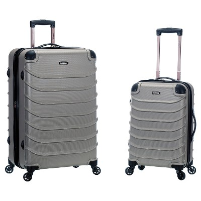 Rockland Special 2pc Expandable ABS Spinner Luggage Set - Silver