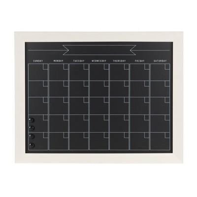 """29"""" x 23"""" Beatrice Framed Magnetic Chalkboard Calendar White - DesignOvation"""