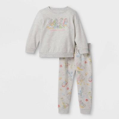 Toddler Girls' Disney Princess Fleece Crew Neck Pullover and Jogger Set - Cream
