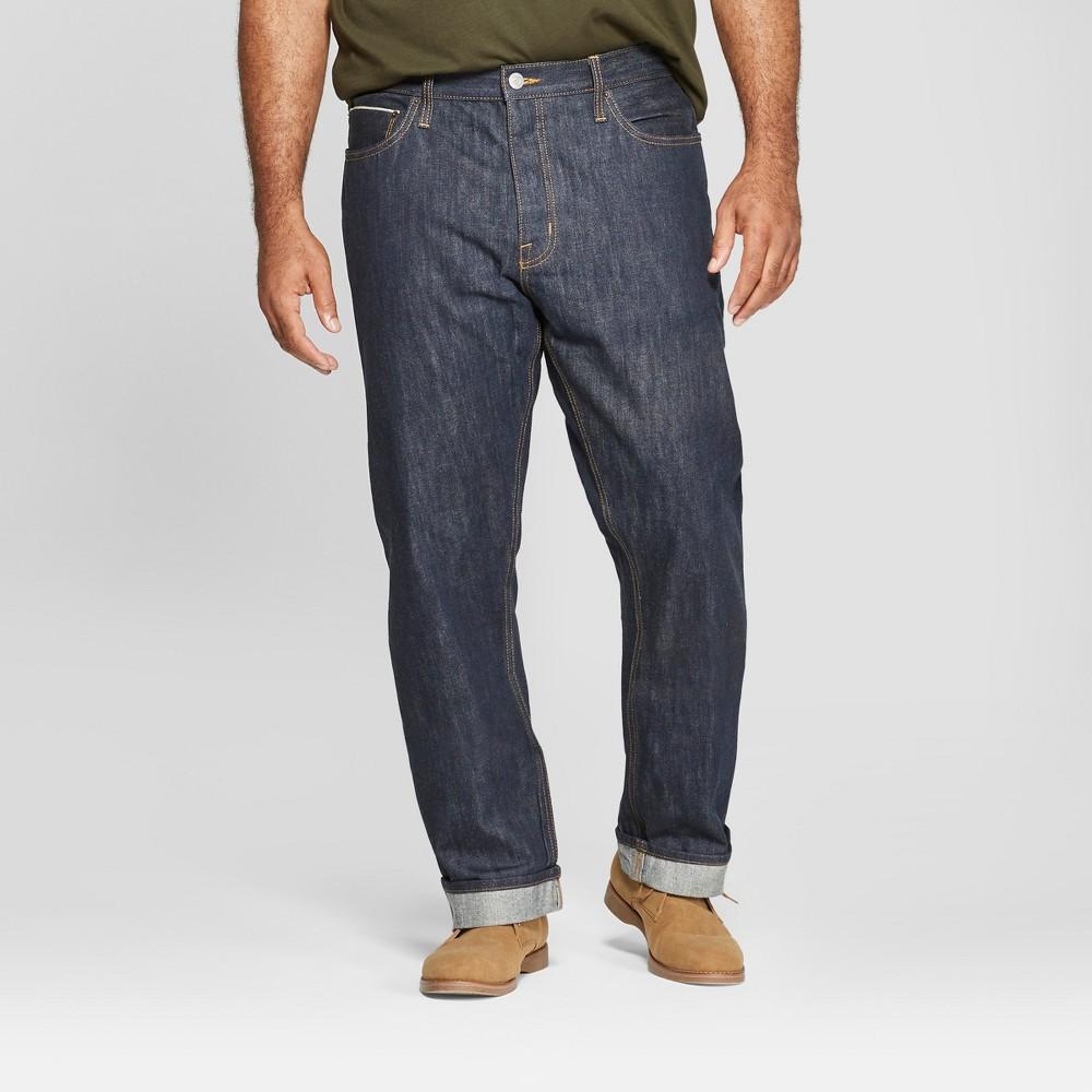 Men's Tall Straight Fit Selvedge Denim Jeans - Goodfellow & Co Dark Rinse 38x36, Blue