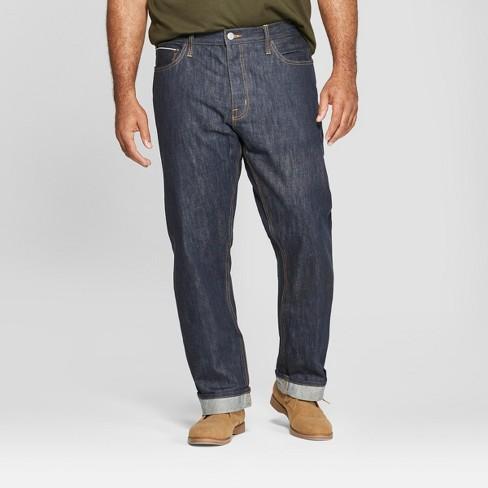 Men's Tall Straight Fit Selvedge Denim Jeans - Goodfellow & Co™ Dark Rinse - image 1 of 3