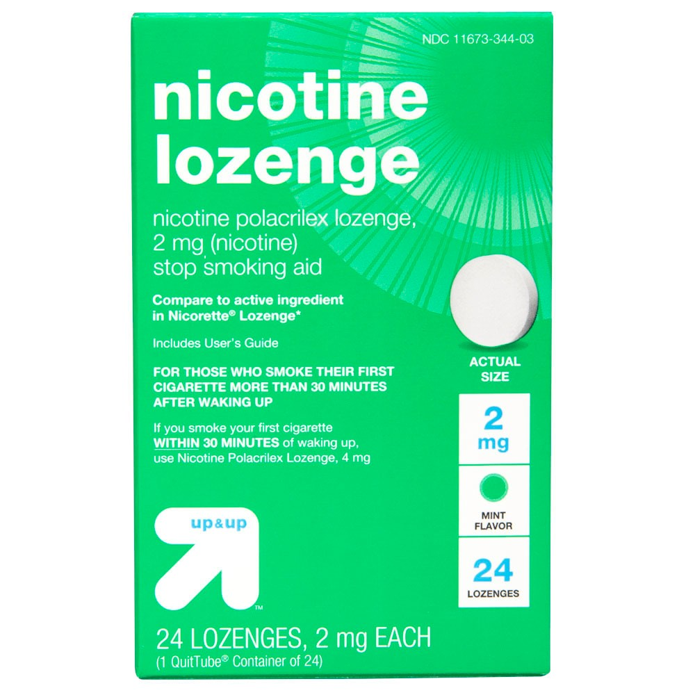 Nicotine 2mg Gum & Lozenges Stop Smoking Aid - Mint -24ct - Up&Up (Compare to active ingredient in Nicorette Lozenge), Off White