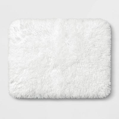 "17""x23"" Shag Foam Bath Rug White - Room Essentials™"