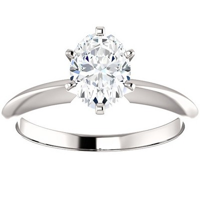 Pompeii3 1 Ct Oval Moissanite Solitaire Engagement Ring 14k White Gold