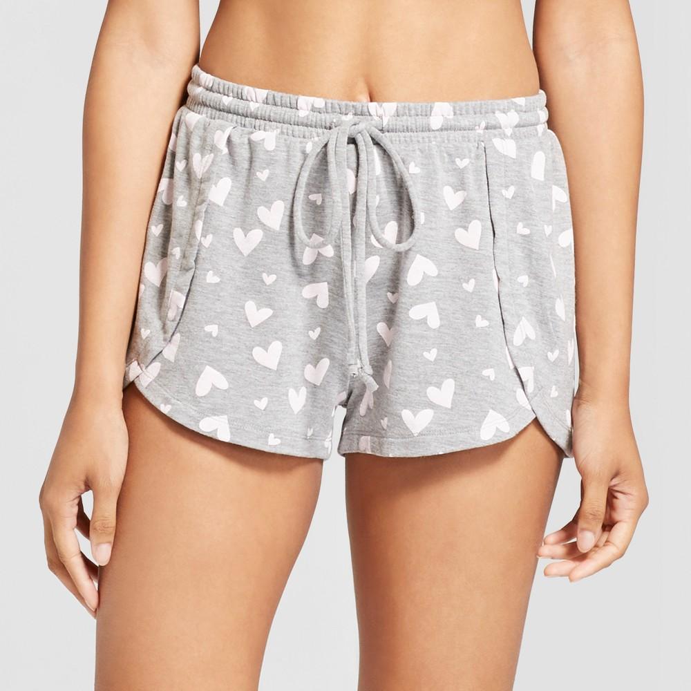 Love & Cherish Women's Heart Print Pajama Shorts - Gray M