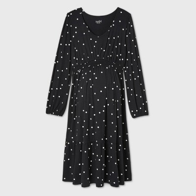 Long Sleeve Smock Waist Tiered Knit Maternity Dress - Isabel Maternity by Ingrid & Isabel™