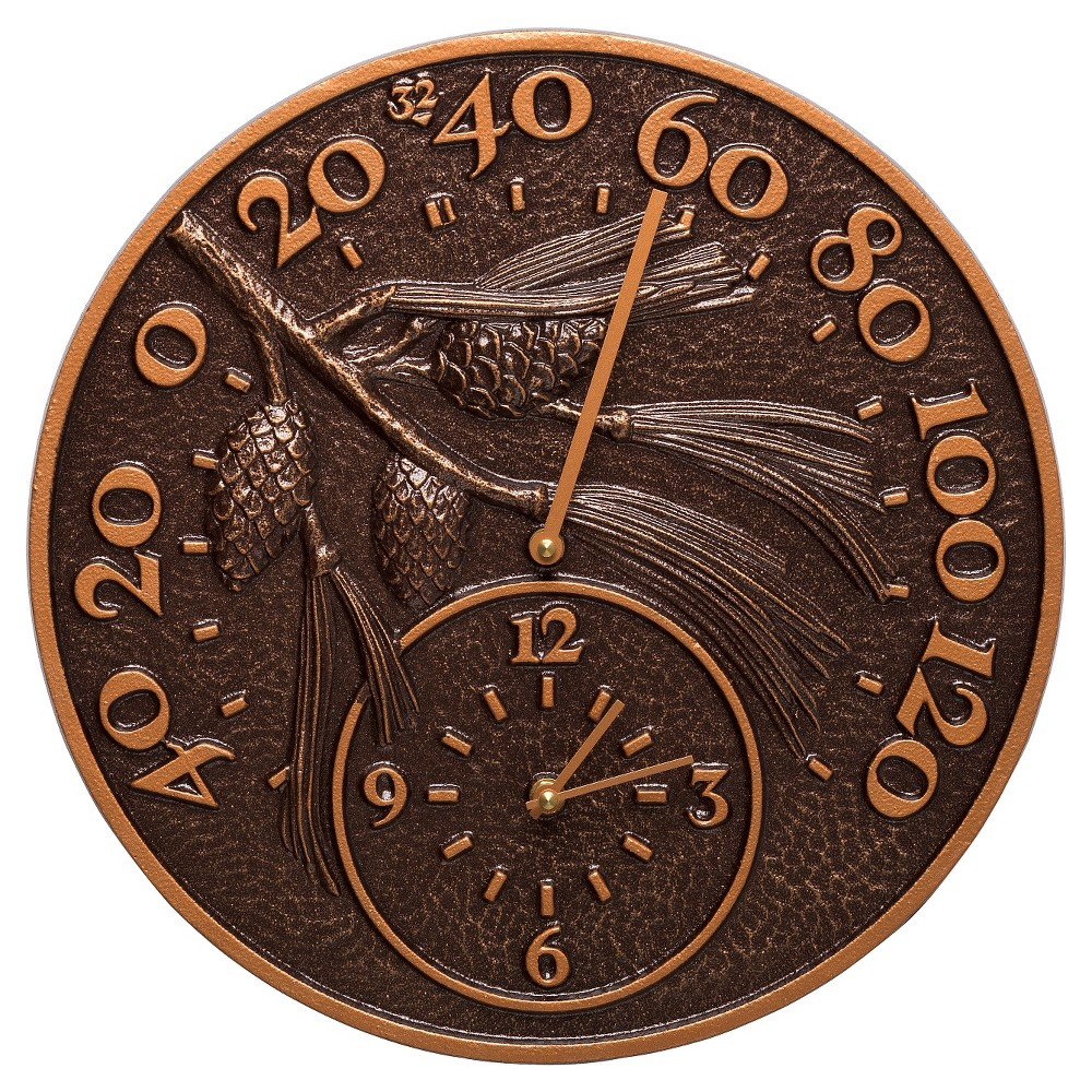 "Image of "".375"""" Aluminum Pinecone Thermometer Clock - Antique Copper - Whitehall Products, Brown"""
