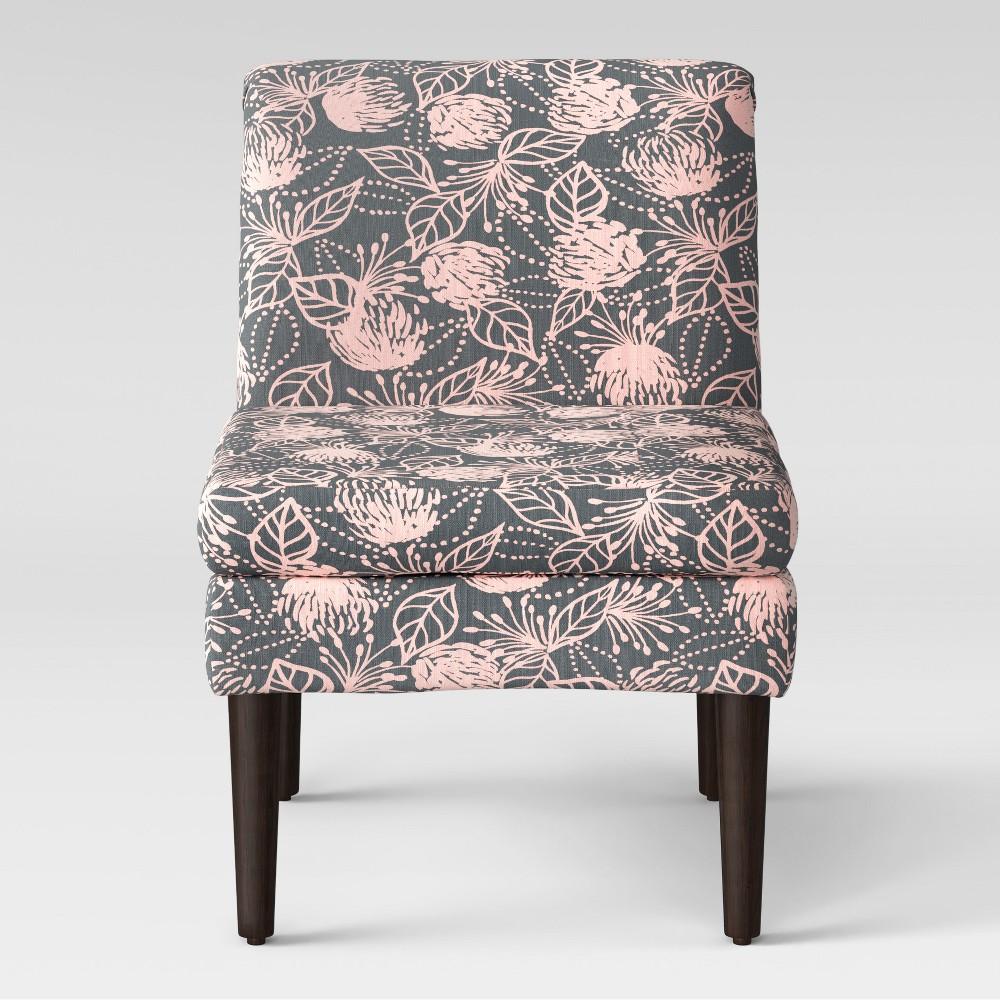Winnetka Modern Slipper Chair Gray & Pink Floral - Project 62