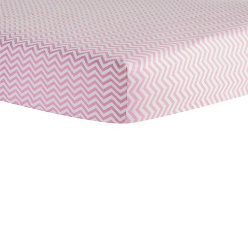 Trend Lab Pink Chevron Flannel Crib Sheet - image 1 of 2